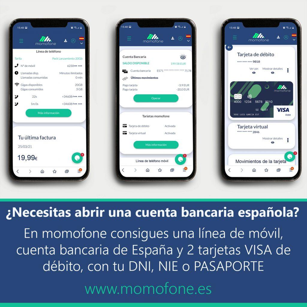 cuenta bancaria y linea de móvil